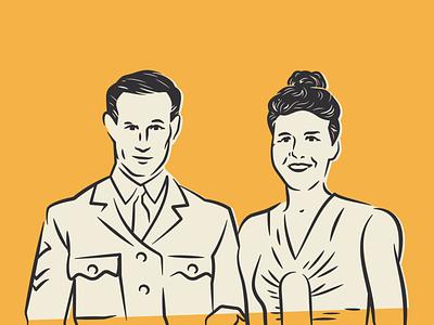 Couple wartime wedding illustration line shape icon geometry branding couple