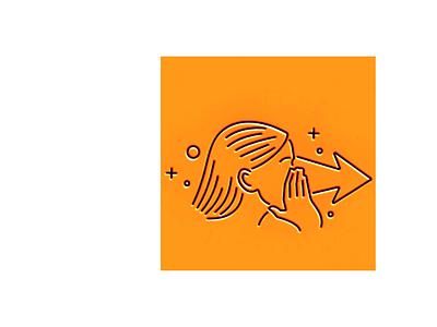 Secret illustration icon line rumor arrow direction hand girl secret