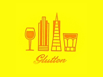 Glutton bar wine beer line illustration logo guide restaurant food glutton