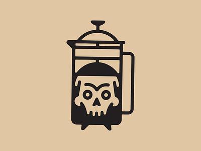 Death by Coffee icon illustration skull death caffeine coffee
