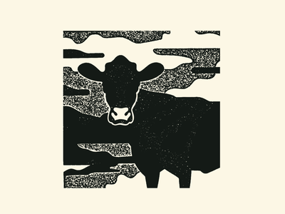 Cow illustration texture line night cow
