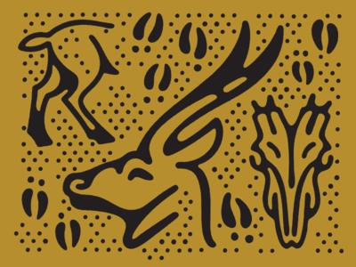 Impala Study prints antler skull pattern dot rough shape line animal study impala