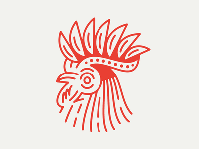 Rooster illustration geometric animal line chicken rooster
