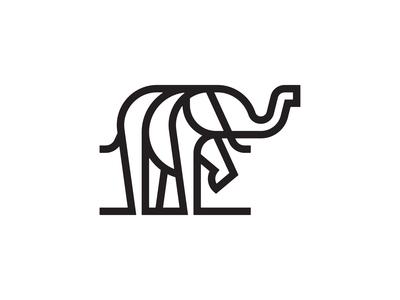 Elephant illustration icon trunk tusk geometry line shape animal elephant
