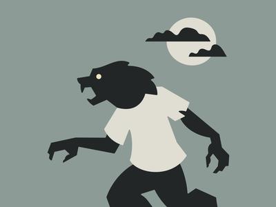 Werewolf illustration geometry human wolf sky cloud moon halloween spooky scary monster creature werewolf