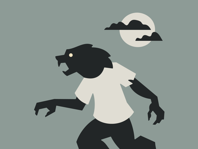 Werewolf illustration geometry human wolf sky cloud moon halloween spooky scary monster creature werewolf