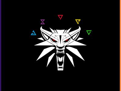 Witcher logo vector drawing design artwork digitalart black art adobe illustrator adobe photoshop coreldraw wolf witcher