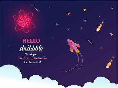 Hello Dribbble! :-) artstation vector drawing design artwork digitalart photoshop coreldraw illustrator art star space thank you dribbble invite hello