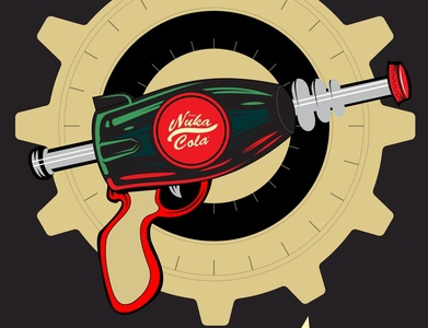 Nuka Cola Gun red post apocalypse falloutworld art adobe photoshop adobeilustrator vector drawing design coreldraw artwork digitalart gun nukacola