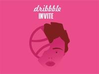 Dribbble Invite photoshop art artstation adobe photoshop vector artwork coreldraw digitalart ball girl pink dribbble invite