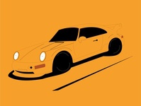 Porshe ilustration digital vector sportcar yellow porshe