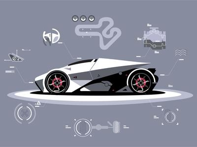 Sport Car technology graphic game coreldraw adobe illustrator abstract 2d futuristic automobile sportcar