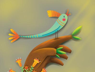 tree and bird quran procreate ipad magazine illustration single frame illustrator book illustration
