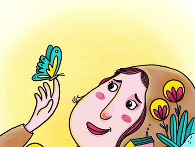 girl with butterfly childrens book character magazine ipad procreate illustration single frame illustrator book illustration