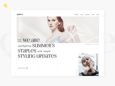 Home page design of fashion clothing store landing desktop interface homepage fashion ecommerce business type ui style branding collection whitebackground clean store clothing main page home page ux design