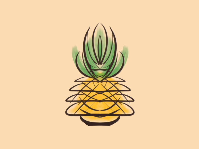 Pineapple stickermule giveaways giveaway minimal illustraion rebounds
