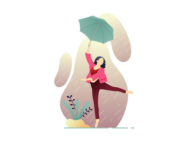 Dancing in the Rain umbrella happy dancing rain yellow red gradient character flatdesign flat art illustration design