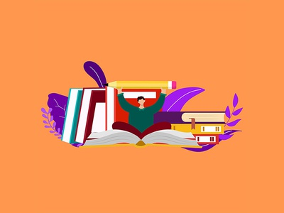 Flat Illustration Education Concept online internet business study banner learning technology knowledge web background university icon book design concept school vector illustration education flat