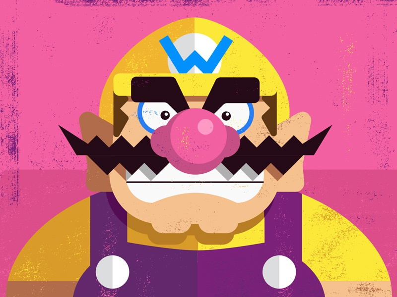 Wario vector game art illustration alan defibaugh wario mario warioware nintendo video games texture 100days