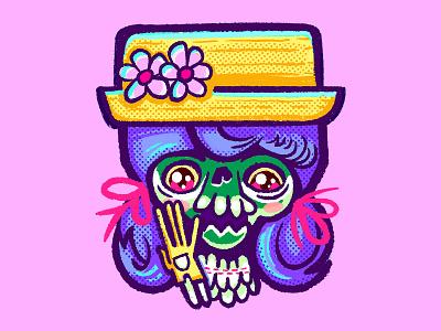dribbble katie creepycute creepy cute kawaii skull lowbrowart popsurrealism design procreate digital illustration alan defibaugh