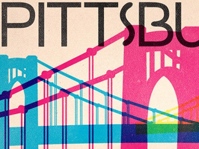 Pittsburgh, PA Gowalla City Guide Postcard alan defibaugh gowalla vector pittsburgh pennsylvania suspension bridge cmyk