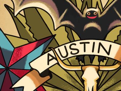 Austin, TX Gowalla City Guide Postcard gowalla postcard austin tx alan defibaugh