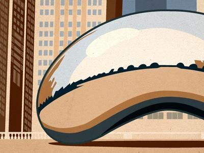 Chicago, IL Gowalla City Guide Postcard gowalla vector alan defibaugh chicago illinois bean reflection