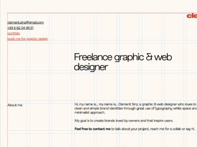 One page portfolio portfolio graphic designer css grid grid layout brand identity logo design webflow designer webdesigner graphiste typography webflow