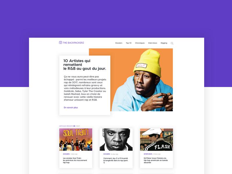 The Backpackerz Redesign ui designer web designer graphiste user interface design ui design website responsive design hip hop
