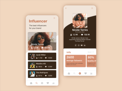 App to find incluencers app dailyui ui appdesign user profile profile page