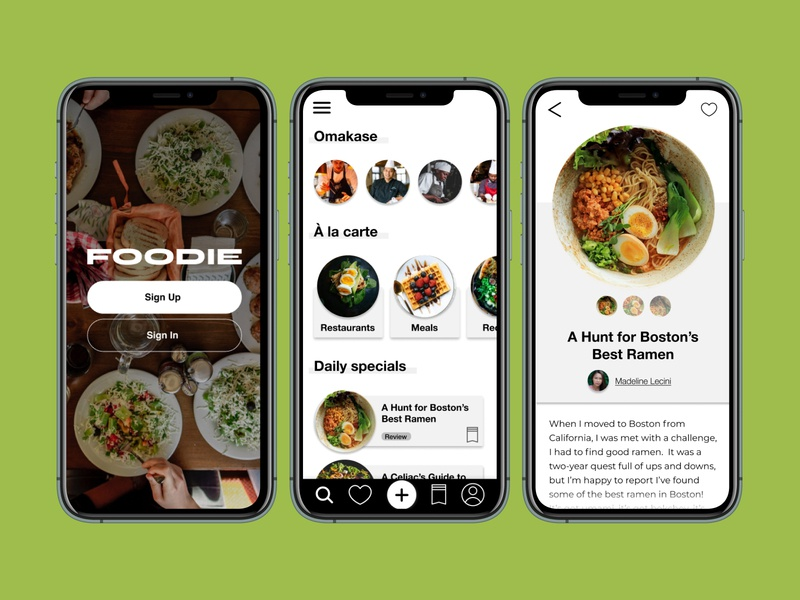Designlab Foundations: Foodie App food and drink food app design