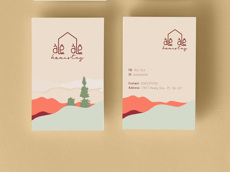 """ALE ALE homestay"" namecard card design namecard minimalism minimal branding vector photoshop brand design illustration artwork design illustrator"