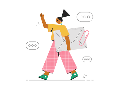 Hello! character design girl email worker illustration geometric flat illustration character 2d