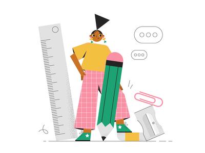 Let's work! office stationery character design girl illustration geometric flat illustration character 2d