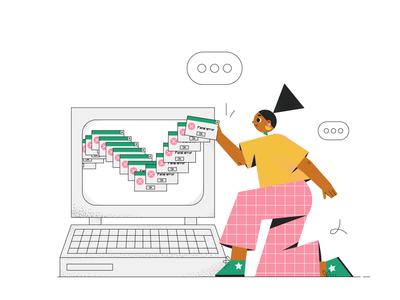 Oops! fatal error office customer character design geometric illustration flat illustration character 2d