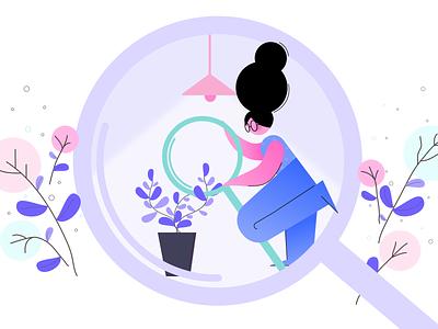 Search plants minimal illustration simple illustration woman creatopy vector app graphic design flat search losttype illustration ui web design