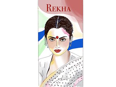 Bollywood Queens: Rekha colorful bindhi saree contemporaryart art contemporary rekha rekha actress bollywood procreate illustration