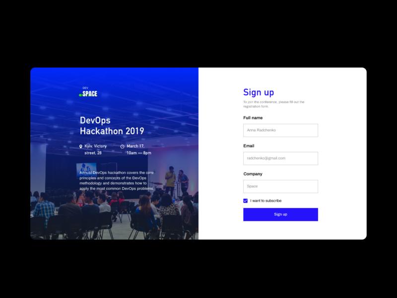Hackathon sign up form hackaton registration signupform signup form dailyui dailyui 001