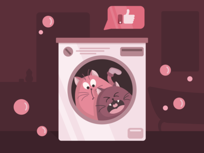 Cats character design pink vector art laundry like monochrome cat illustration