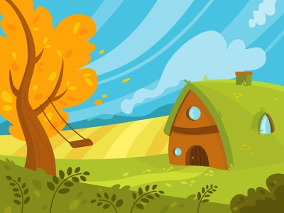 Countryside village grass landscape vector illustration art
