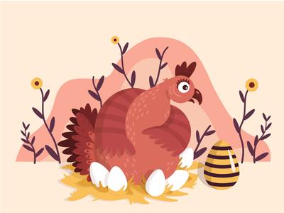 Surprise egg chicken character design vector illustration art