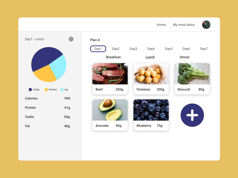 Meal planner web app cooking healthy health diet meal planner meal plan meal prep meals meal ui ux ui website design web design calories calorie food app food