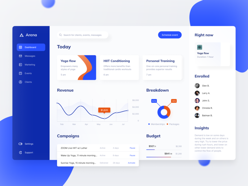Arena: dashboard & summary screen mobile visual design fittech statistics fitness app fitness dashboard ui chart analytics web design website web user inteface product design interface design system dashboard application app design app