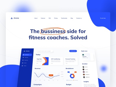 Arena: the business side for fitness coaches. Solved. web design web visual design saas statistics landing page landing product design product page interface admin panel admin fittech fitness app fitness design system dashboard ui dashboard chart analytics