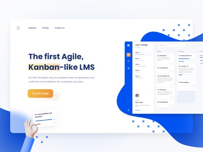 The first Agile, Kanban-like LMS website productivity product page landing page landing trello education edtech e-learning elearning agile lms kanban board kanban