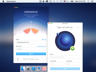 Openspace Sign in / Sign up mac sign up sign in application file sharing desktop macos ui openspace