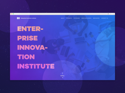 Enterprise Innovation Institute Landing Page gradient abstract typography branding 2d landing web ui user interface