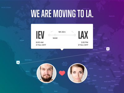 We are moving to LA map ticket flight travel ui la los ángeles illustration