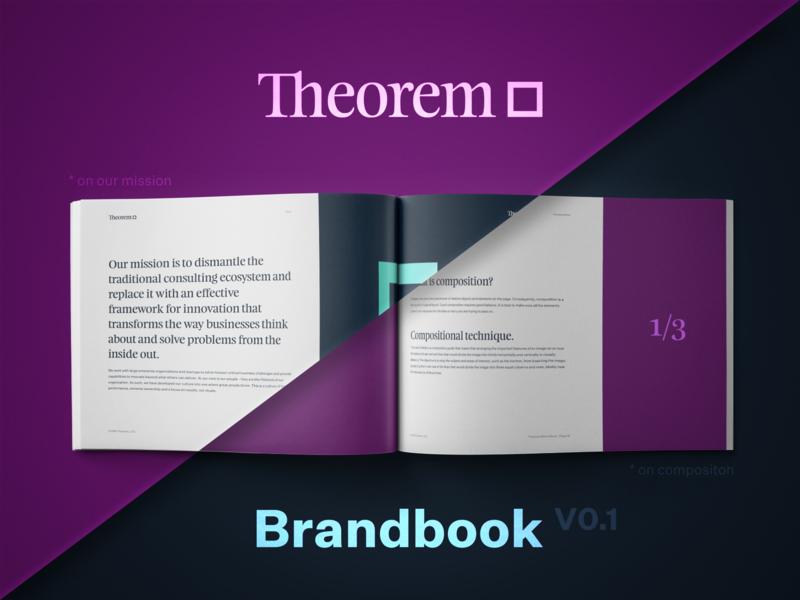 Sneak peek into Theorem brand book branding design print guide typography brandbook style logotype logo rebrand theorem