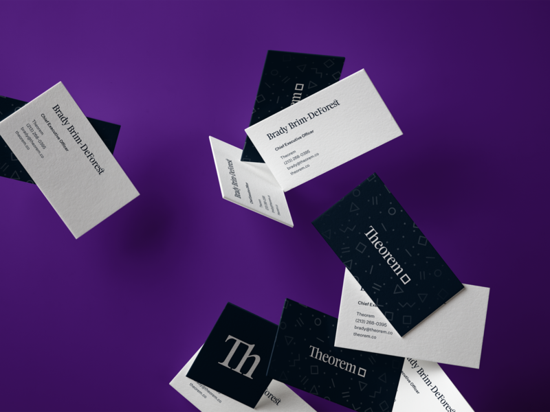 Theorem Business Cards collateral design business card print typography logotype branding rebrand theorem